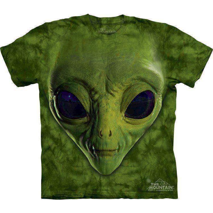 N/A – T-shirt med kæmpe alien hoved på mypets.dk