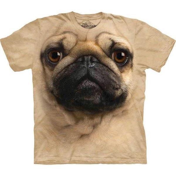 N/A T-shirt med kæmpe mops ansigt fra mypets.dk